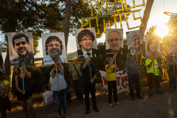 Catalonian Independence Supporters Look Towards The Jail Still Holding Separatists One Year On